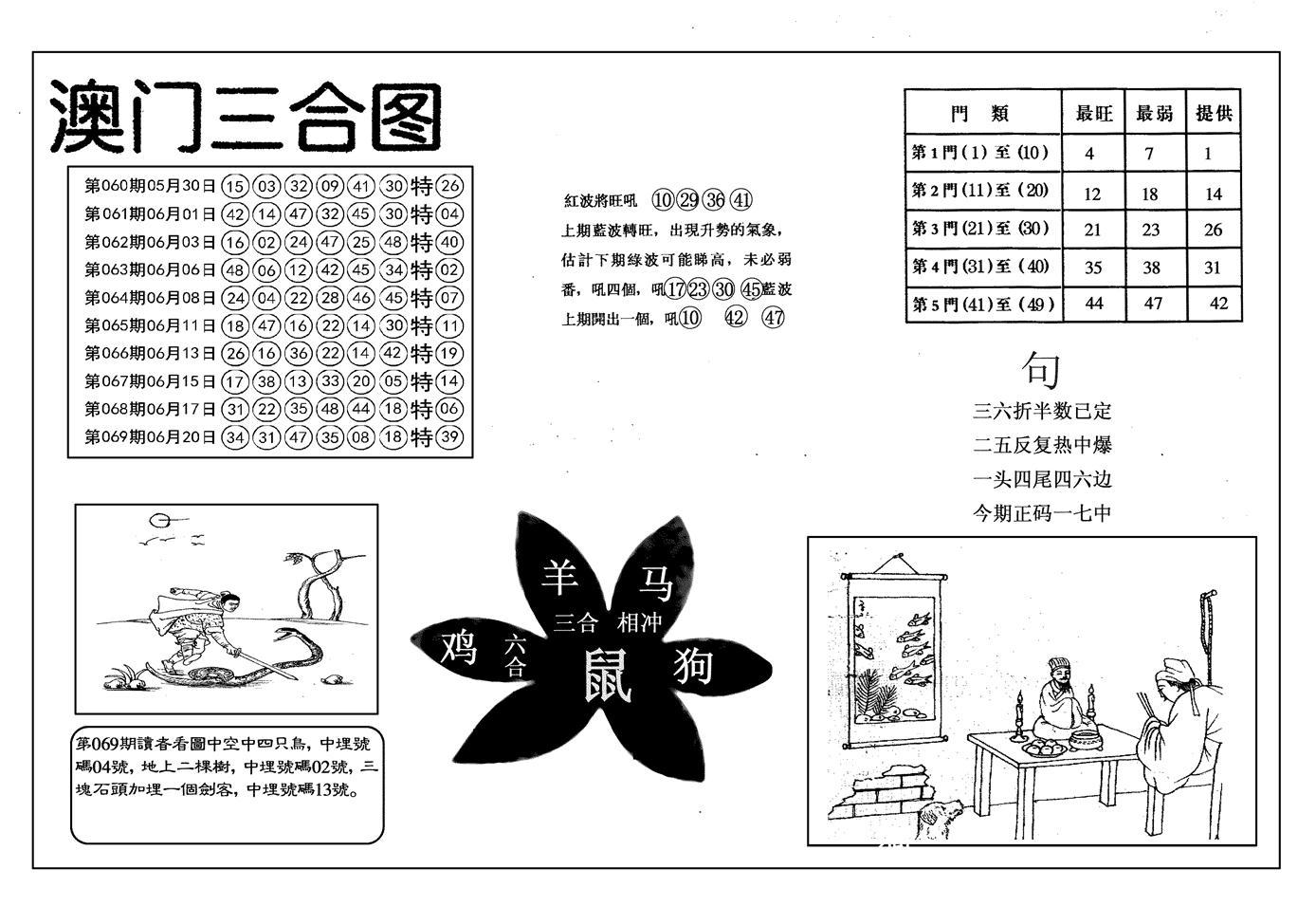 070期另澳门三合图(黑白)
