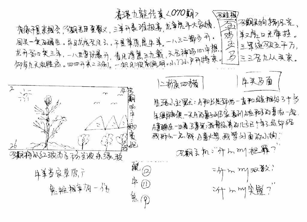 070期手写九龙内幕B(黑白)