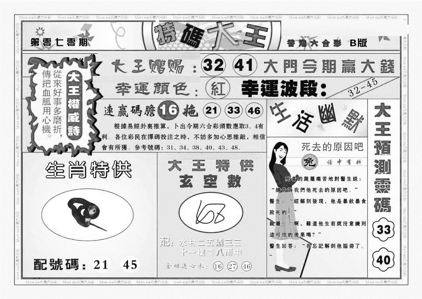 070期特码大王B(黑白)