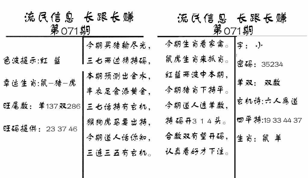 071期流民信息(黑白)