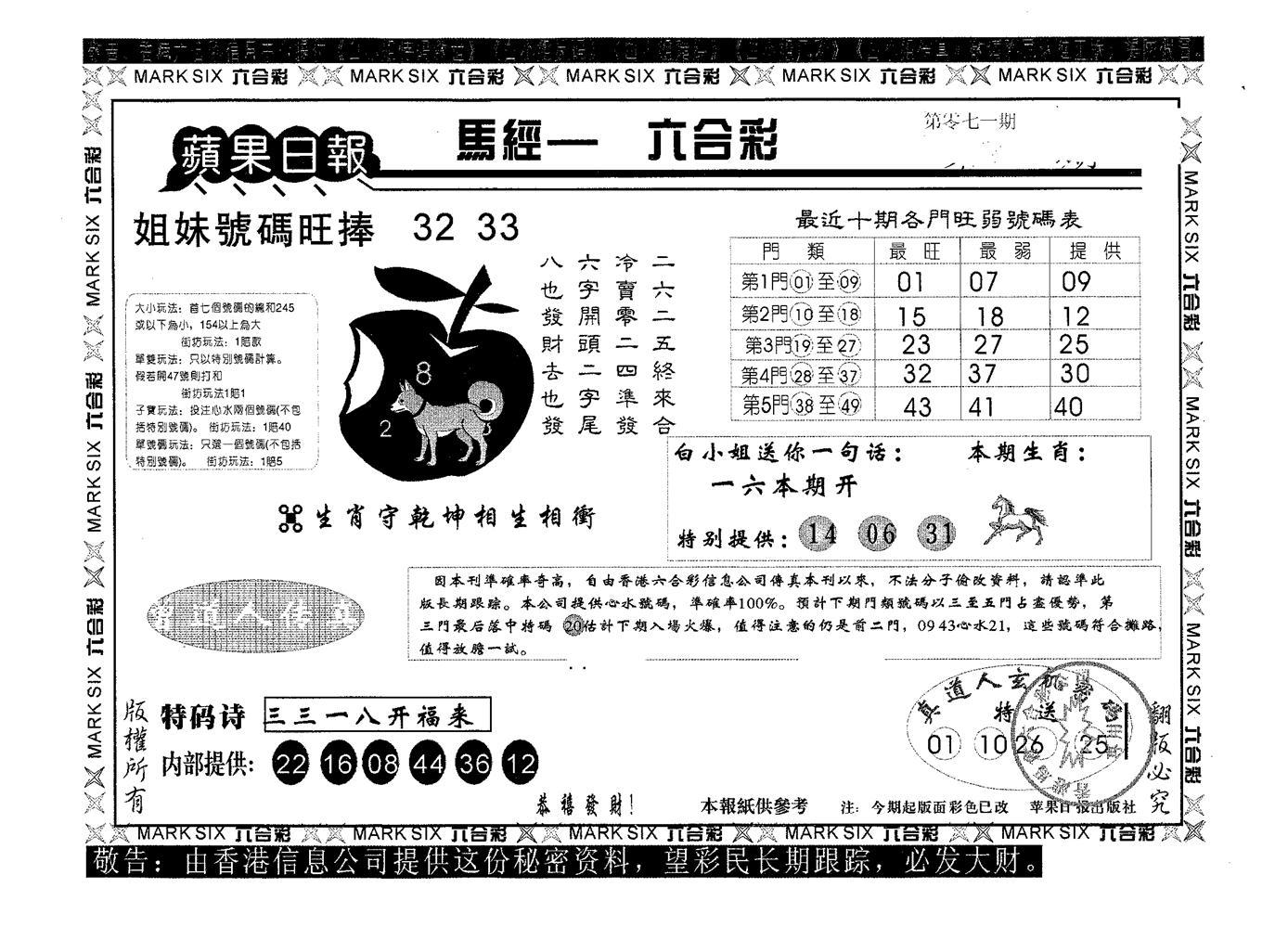 071期苹果日报A(黑白)