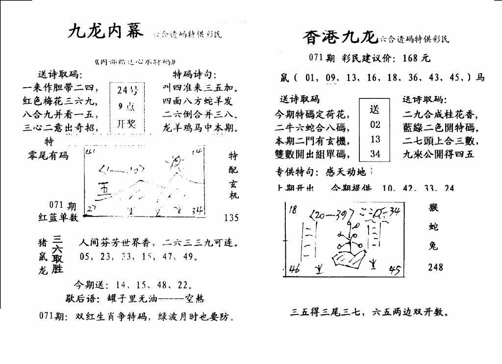 071期手写九龙内幕B(黑白)