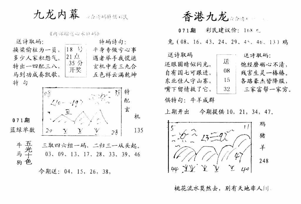 071期九龙内幕--开奖报(黑白)