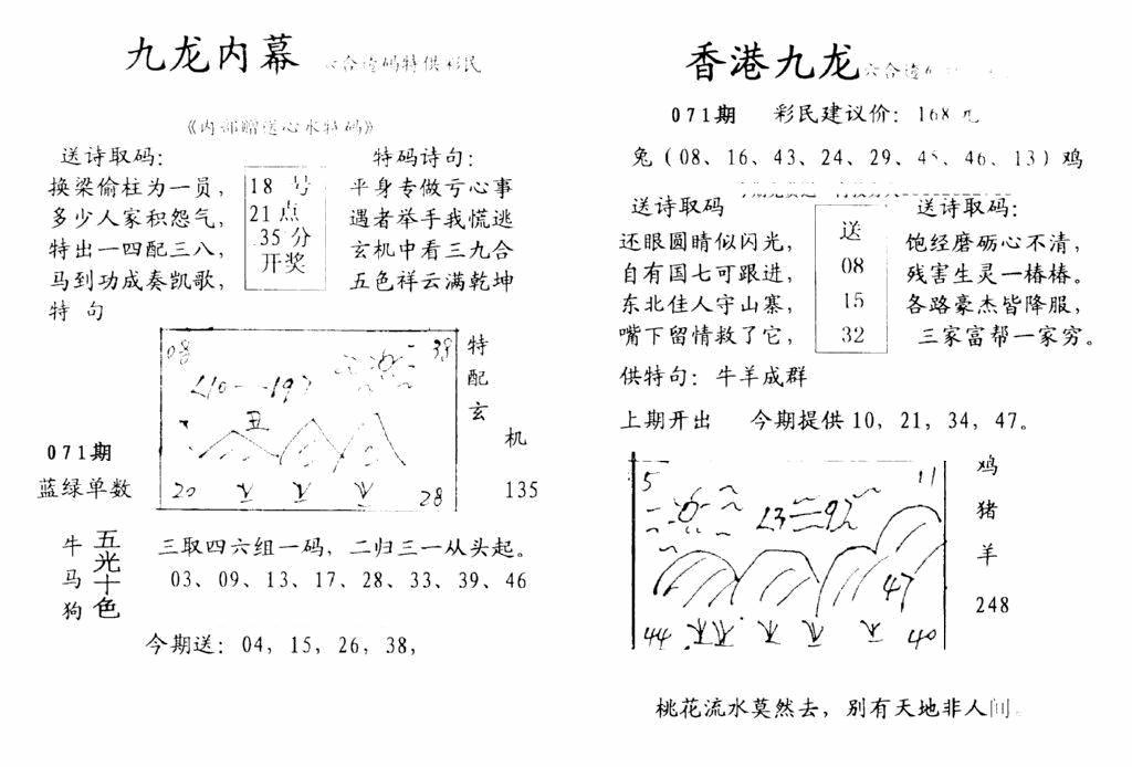071期九龙内幕-开奖报(早图)(黑白)