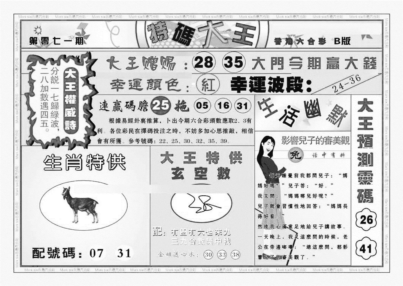 071期特码大王B(黑白)