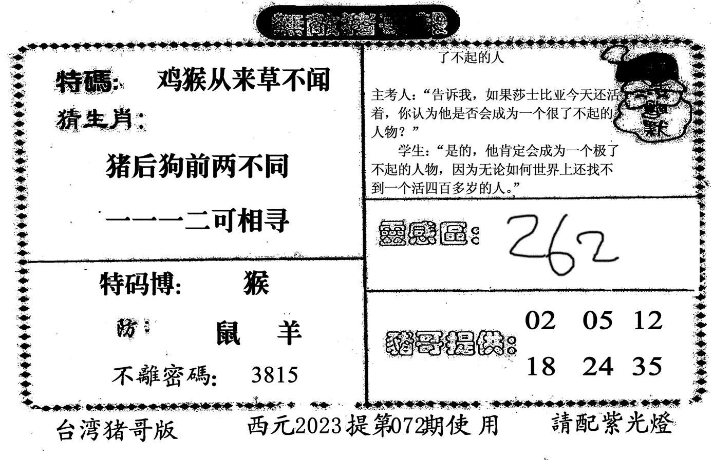 072期无敌猪哥-2(黑白)