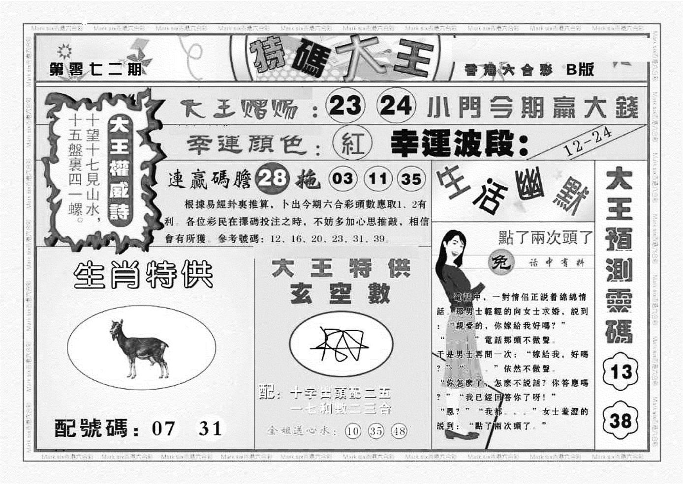 072期特码大王B(黑白)