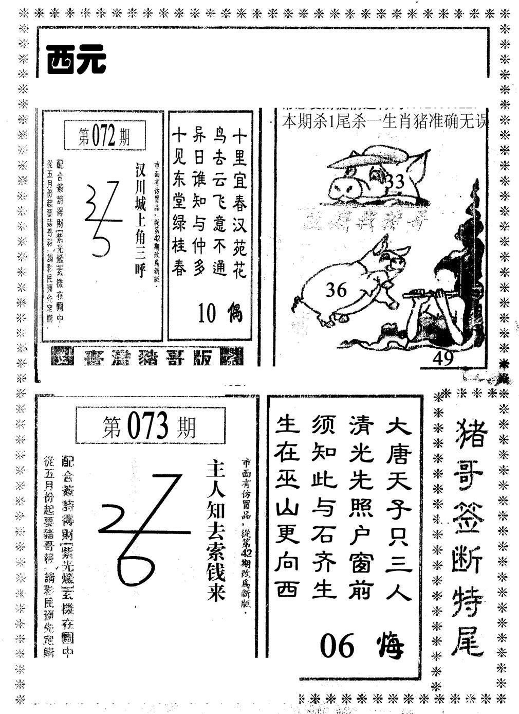 073期猪哥段特尾(黑白)