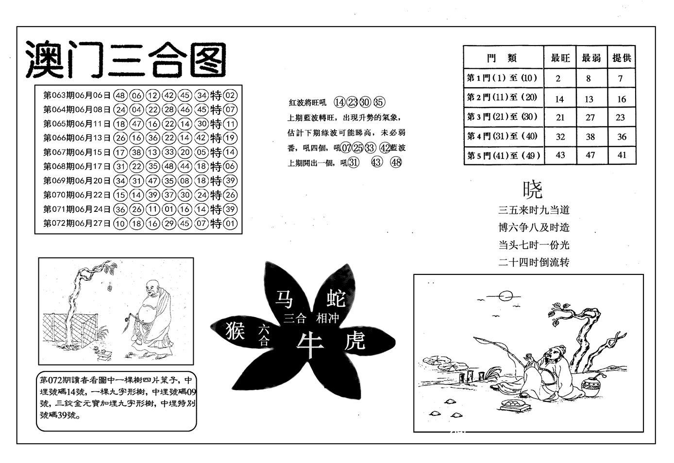 073期另澳门三合图(黑白)