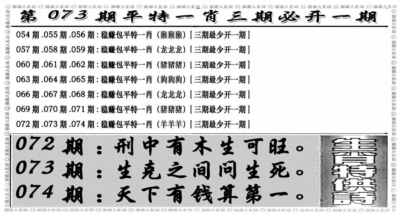 073期玄机特码(黑白)