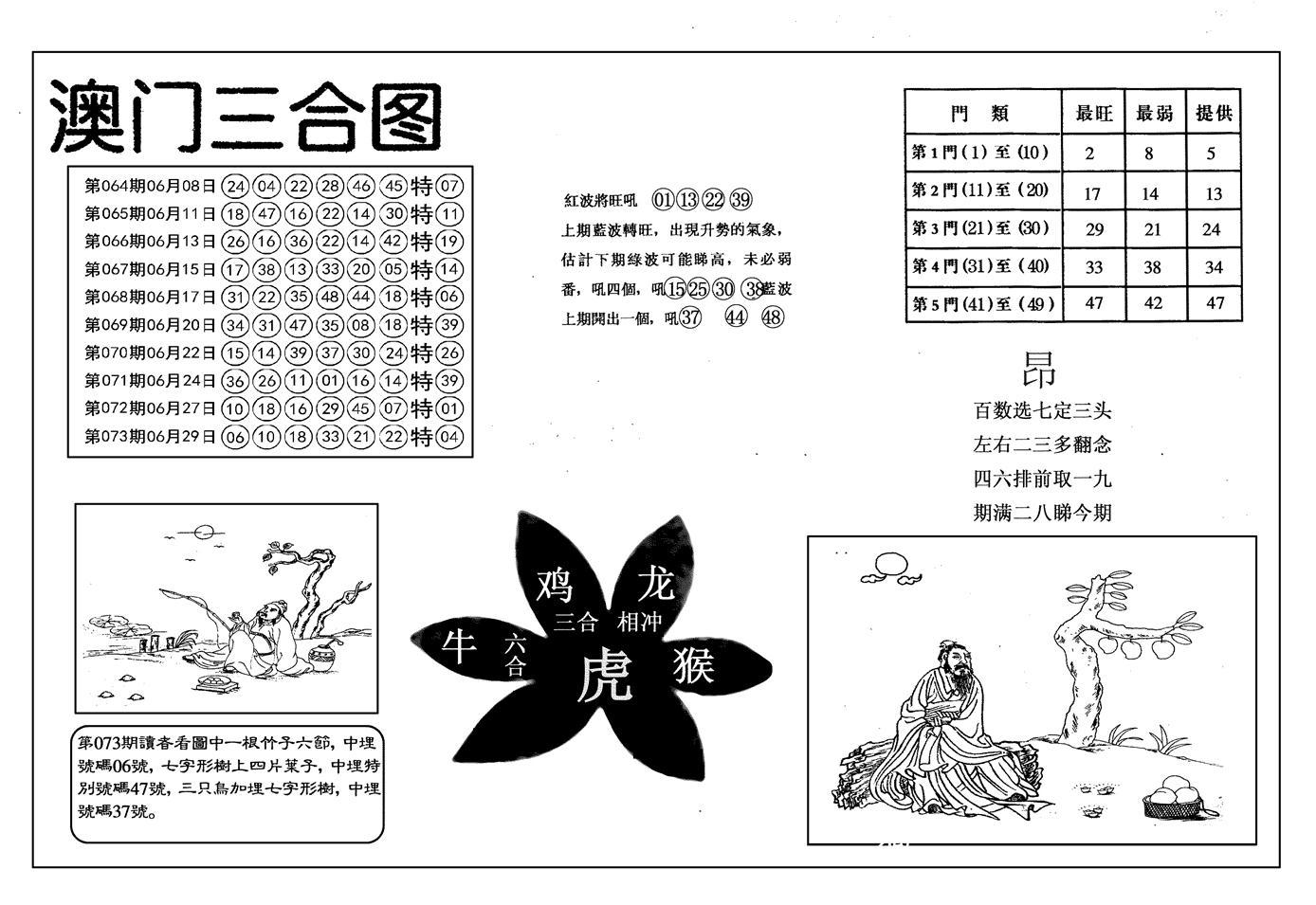 074期另澳门三合图(黑白)