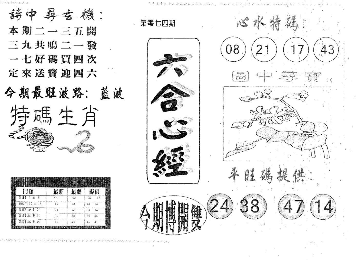 074期六合心经(黑白)