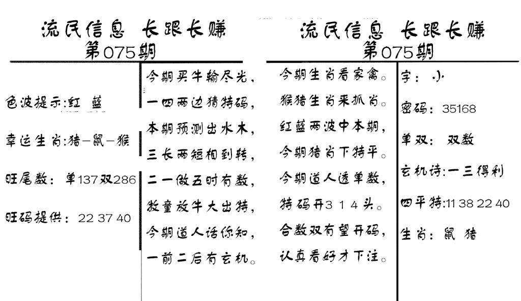 075期流民信息(黑白)