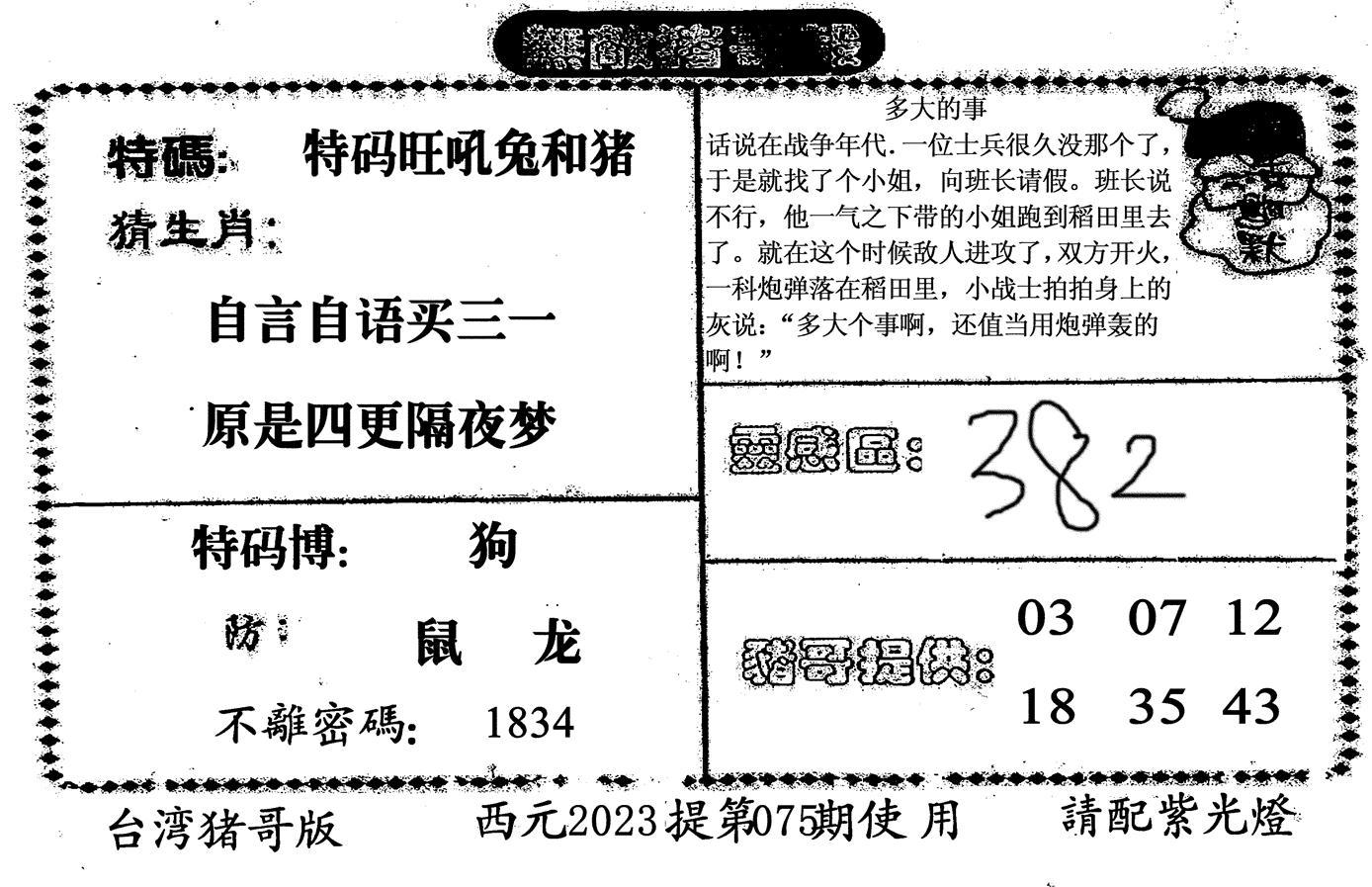 075期无敌猪哥-2(黑白)