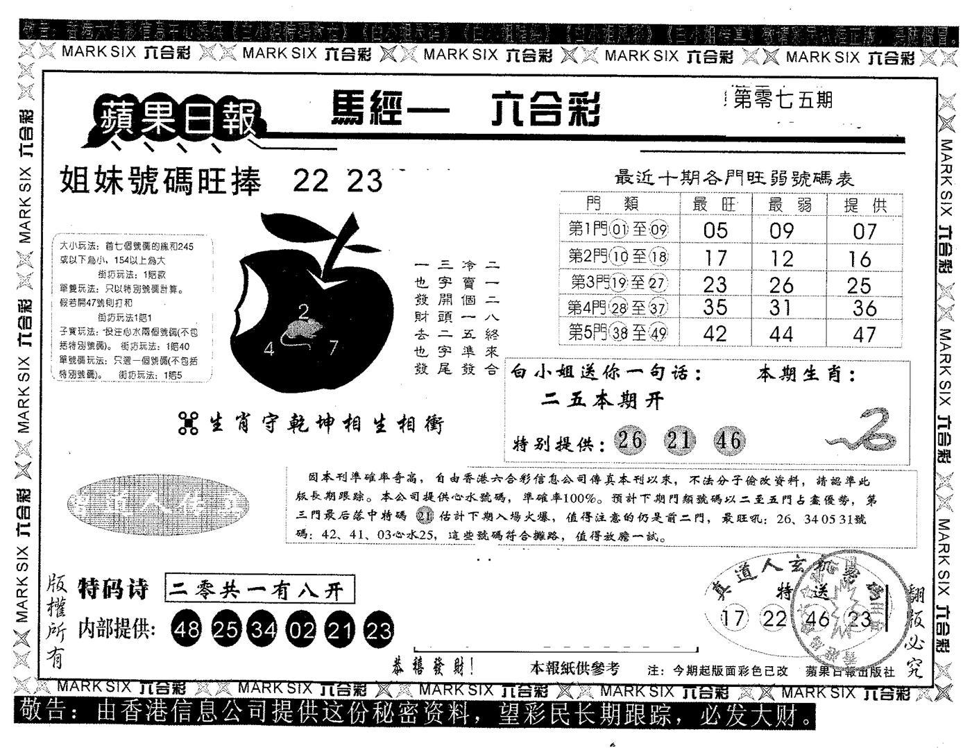 075期苹果日报A(黑白)