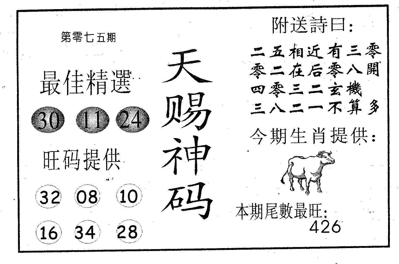 075期天赐神码(黑白)