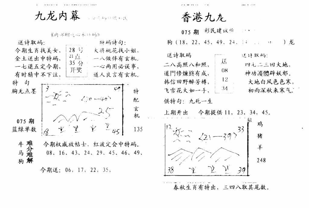 075期九龙内幕-开奖报(早图)(黑白)