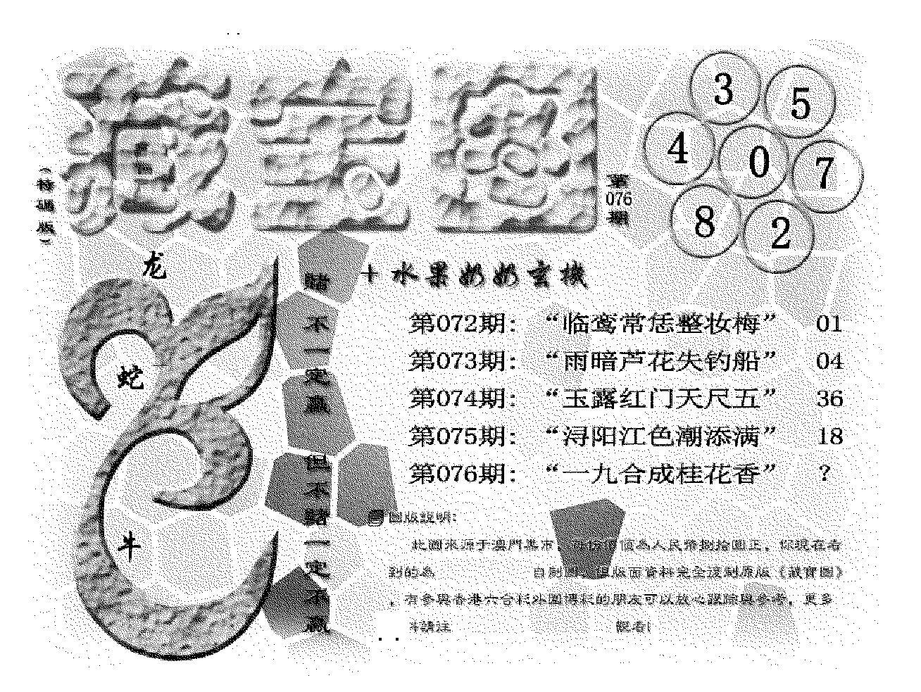076期(九龙藏宝图)正版(黑白)