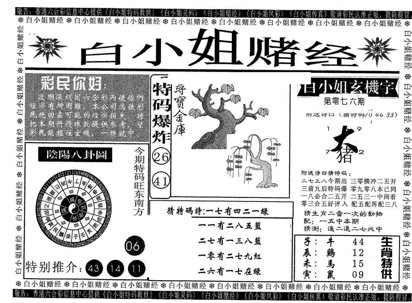 076期白姐赌经(黑白)