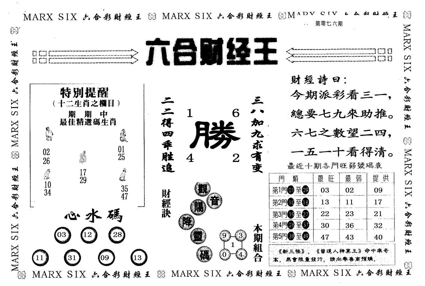 076期六合财经王(黑白)