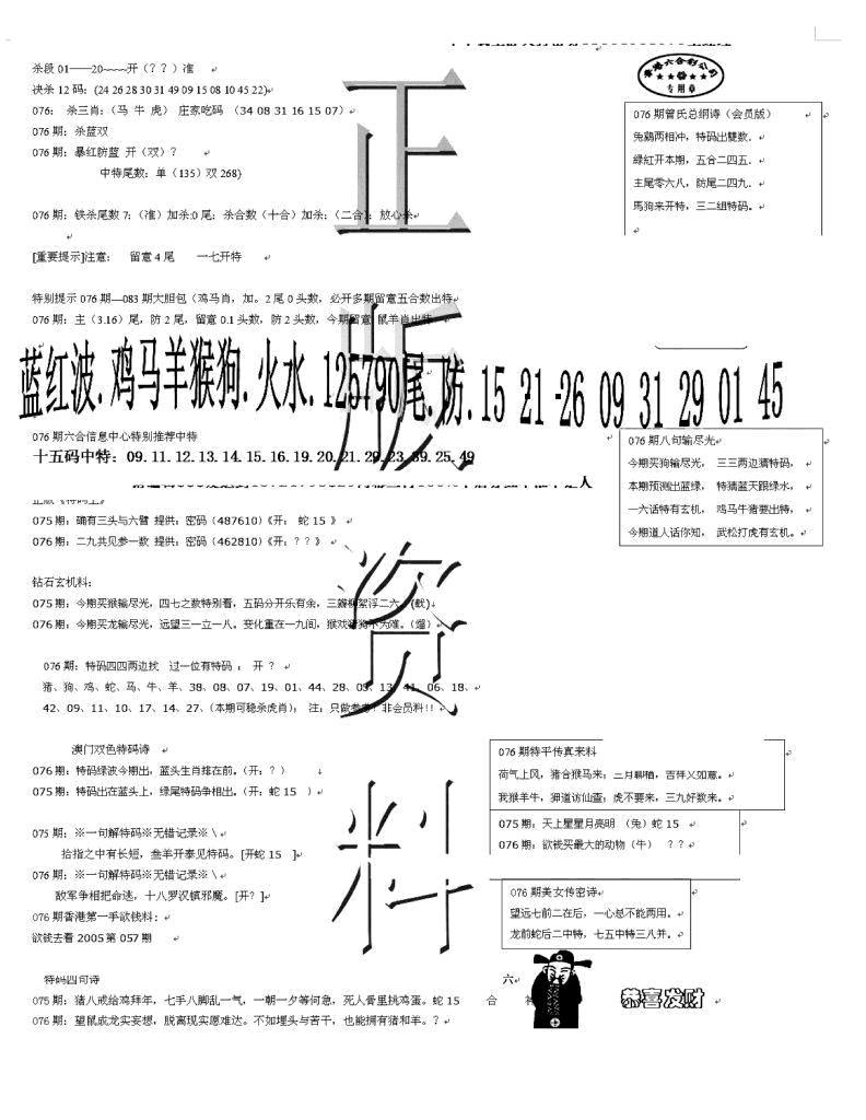 076期正版资料(黑白)