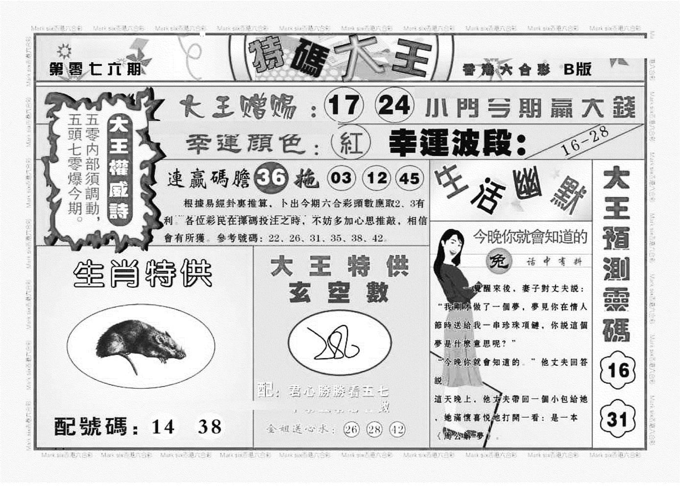 076期特码大王B(黑白)