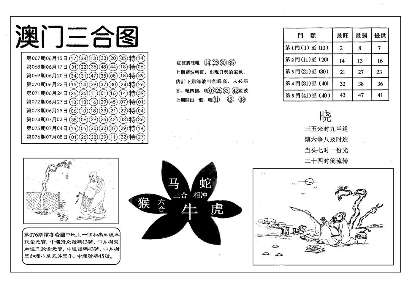 077期另澳门三合图(黑白)