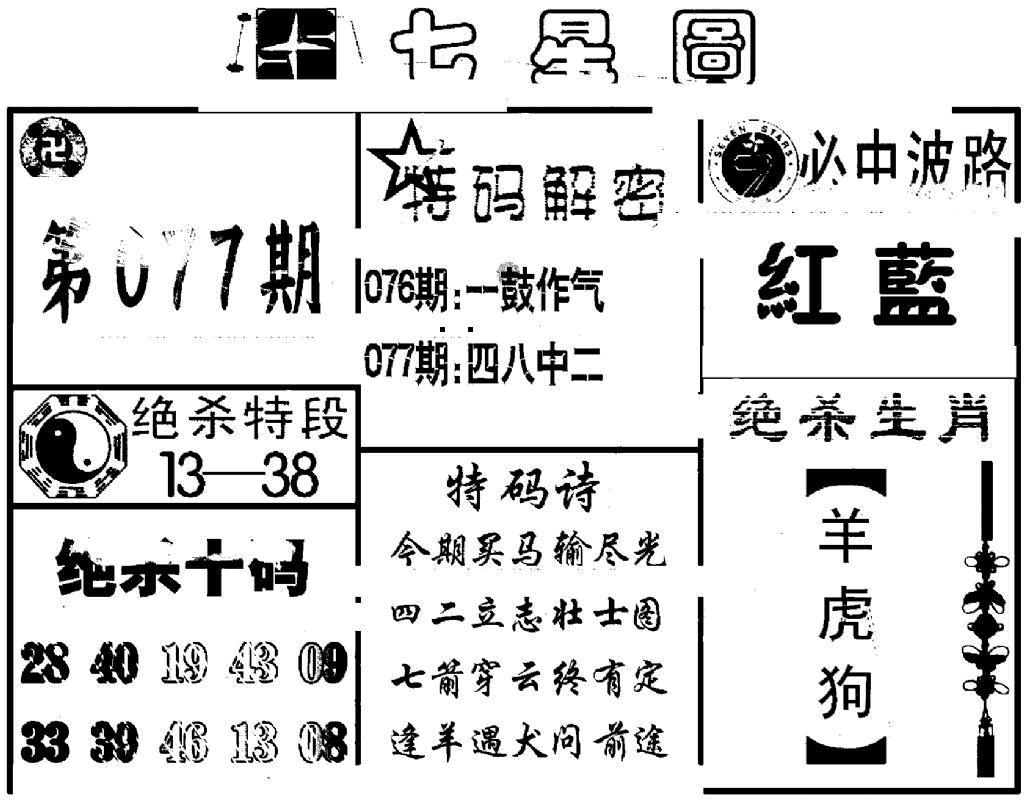 077期七星图(黑白)
