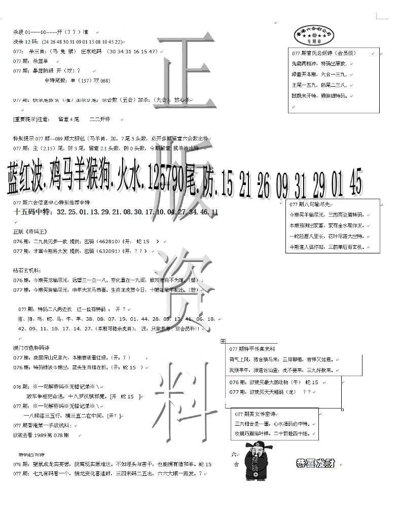 077期正版资料(黑白)