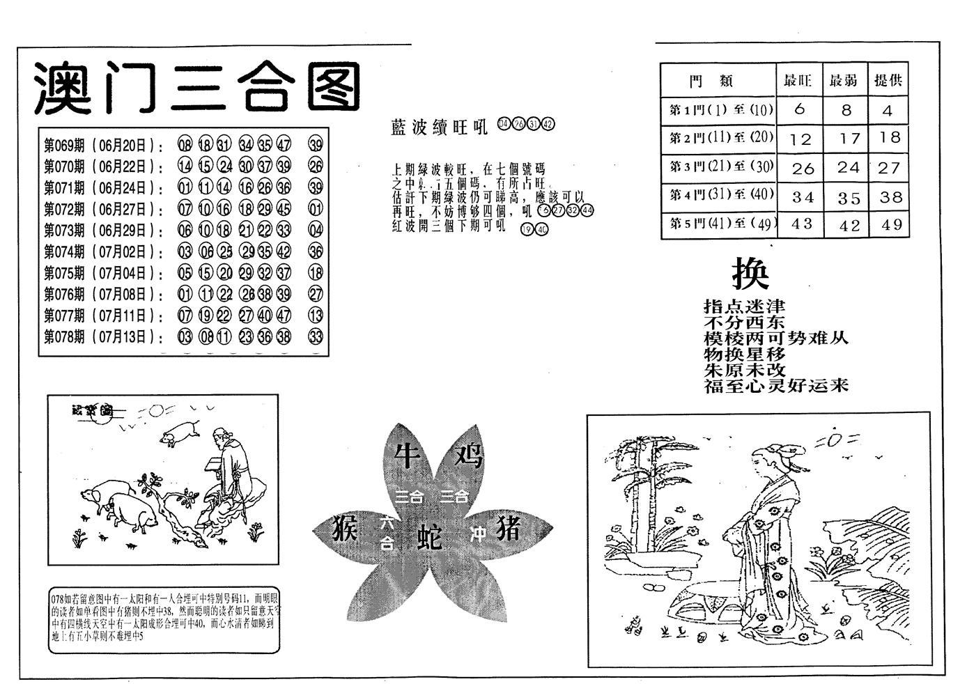 079期老潮汕澳门三合(黑白)