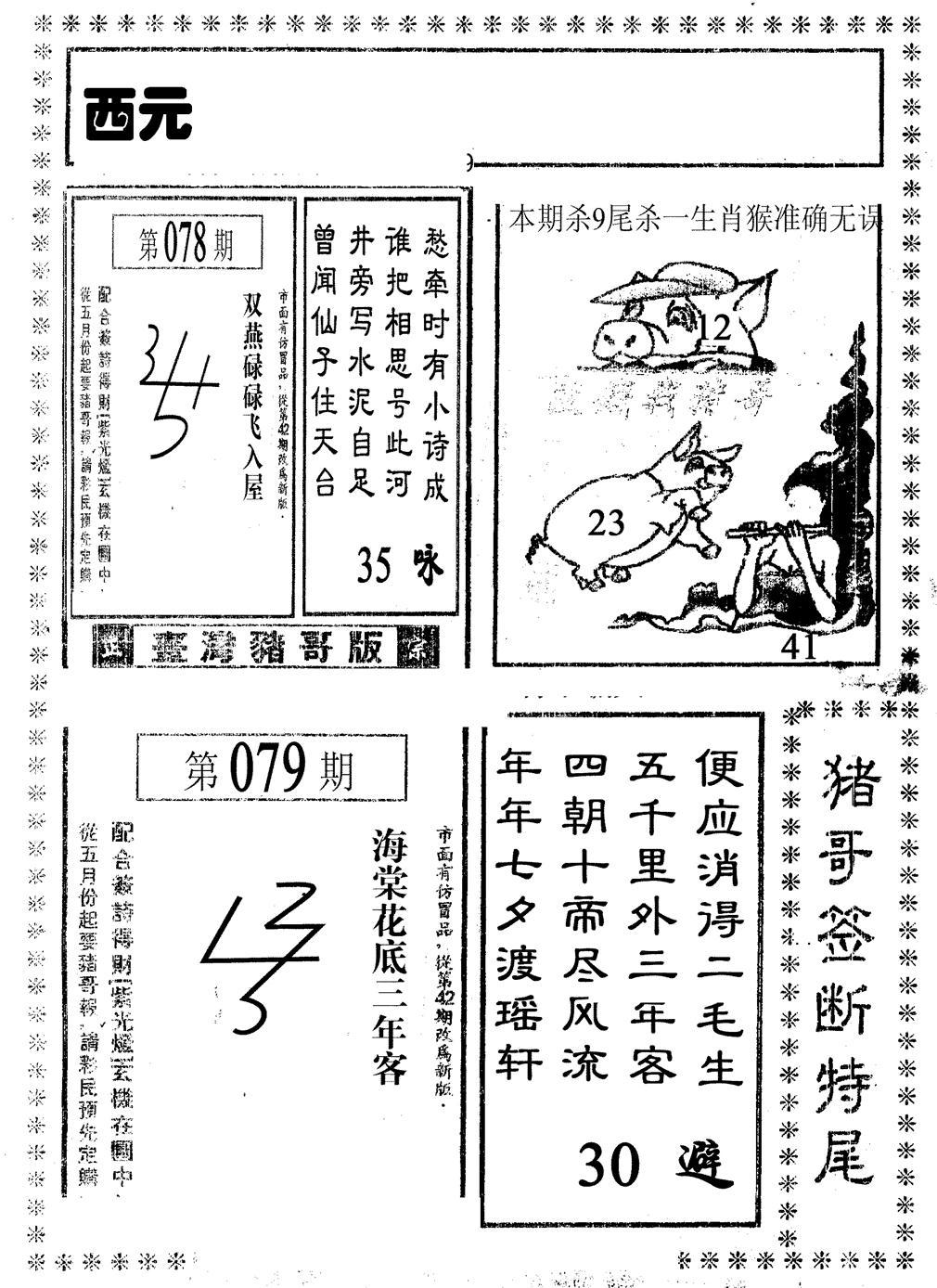 079期猪哥段特尾(黑白)