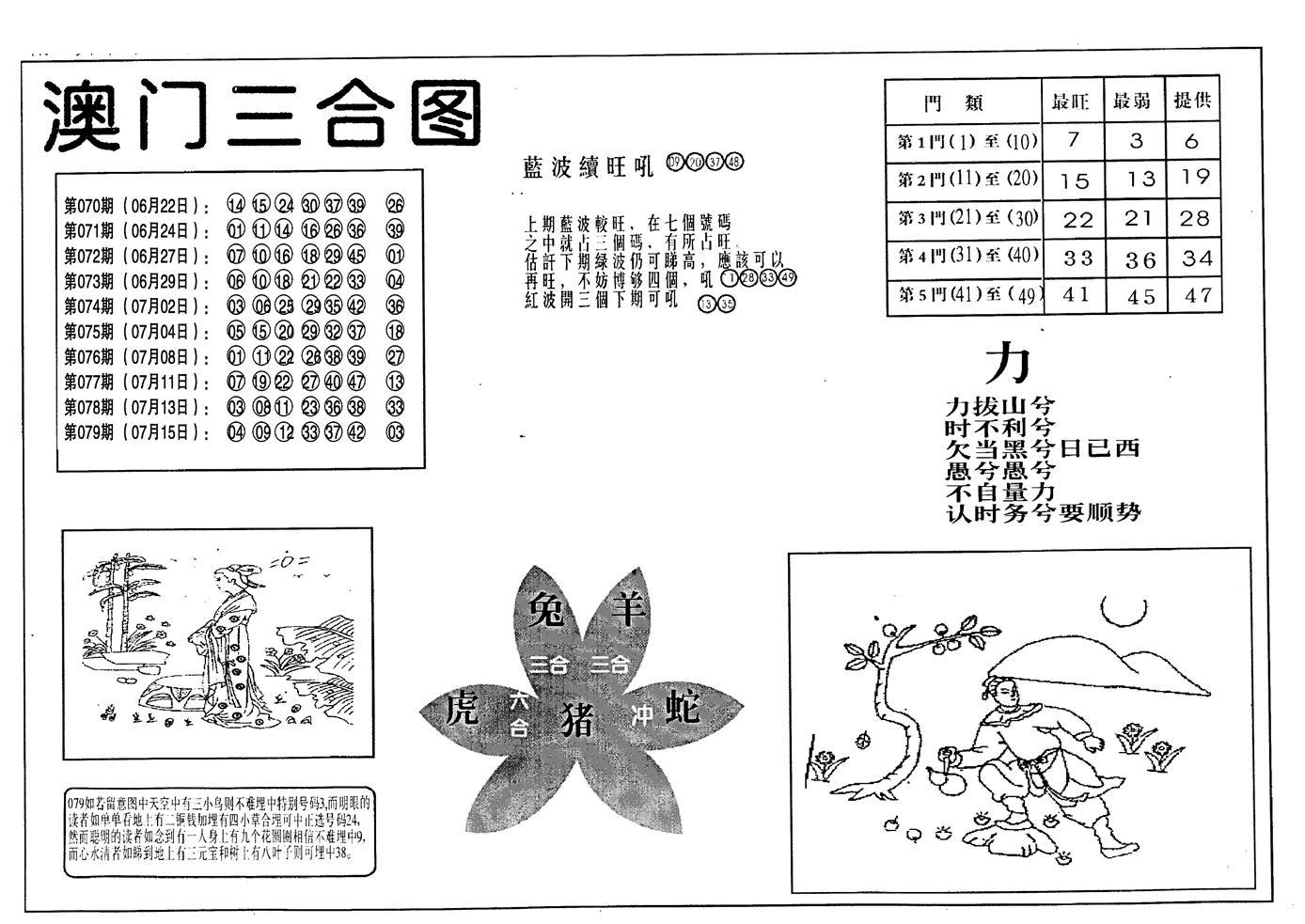 080期老潮汕澳门三合(黑白)