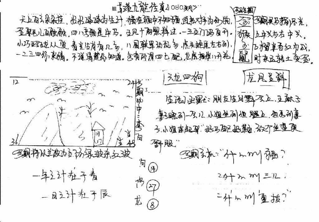 080期手写九龙内幕B(黑白)
