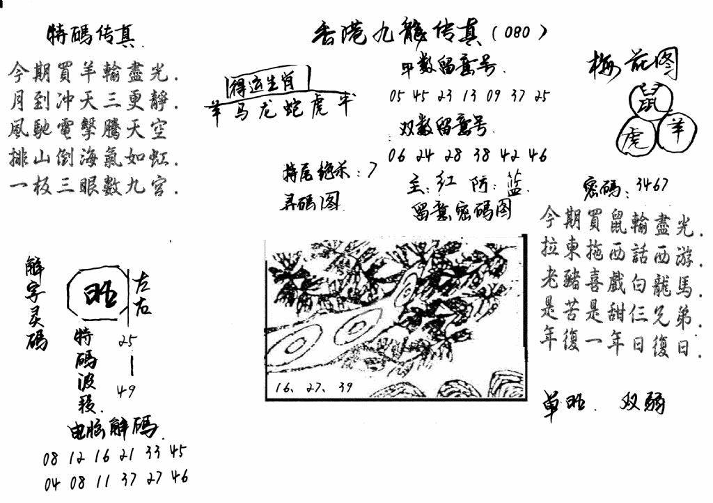 080期特码传真梅花图(手写版)(黑白)