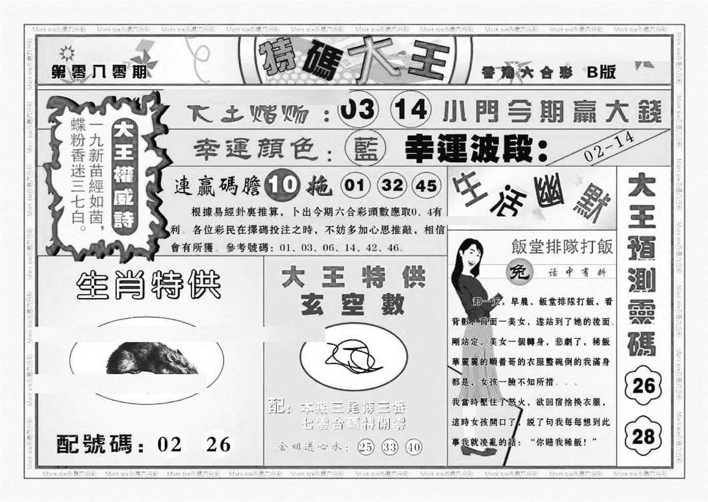 080期特码大王B(黑白)