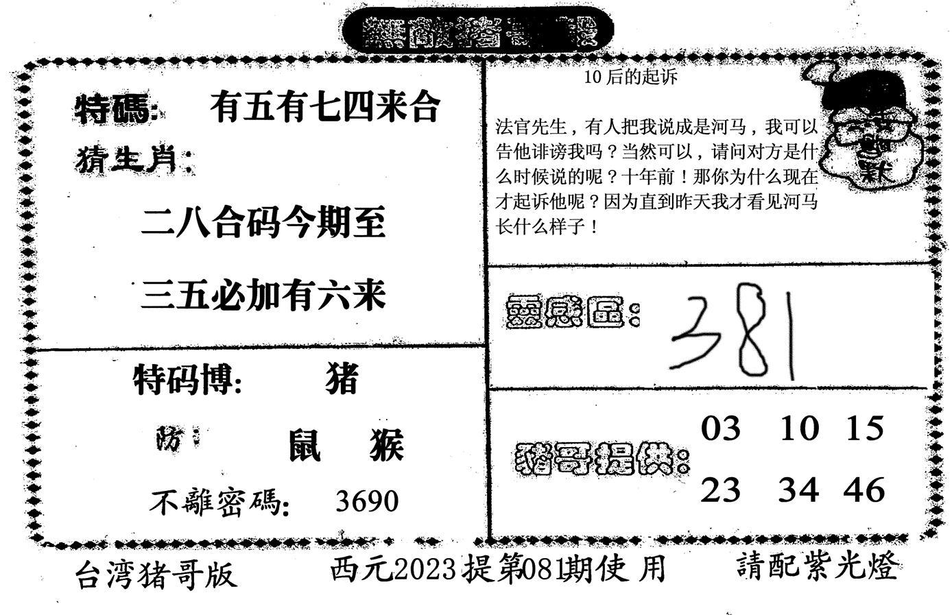 081期无敌猪哥-2(黑白)