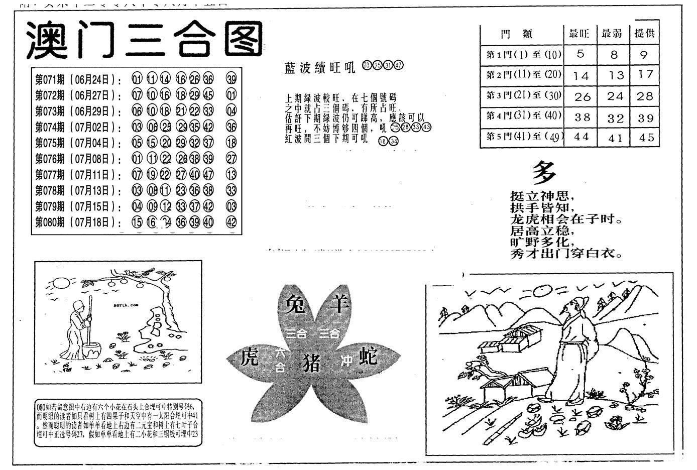 081期老潮汕澳门三合(黑白)