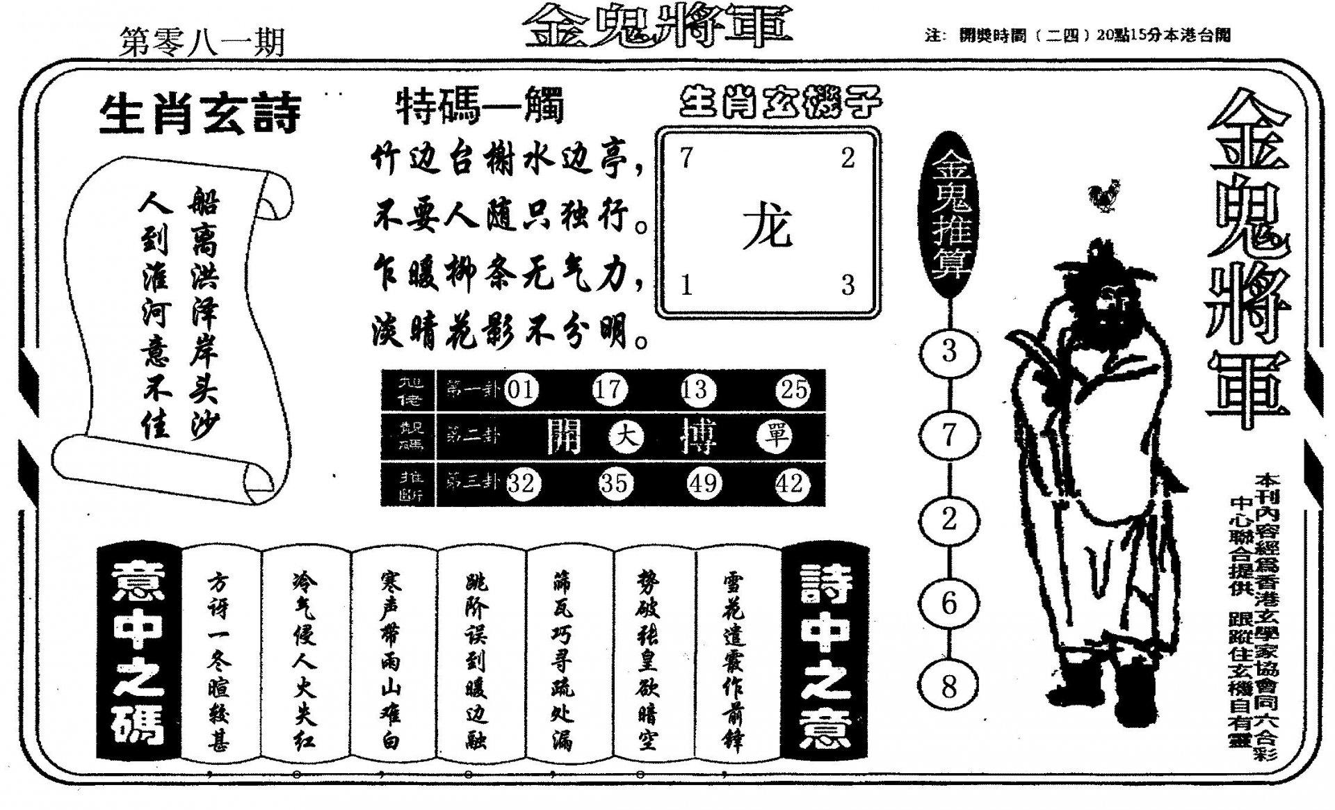 081期老版金鬼将军(黑白)