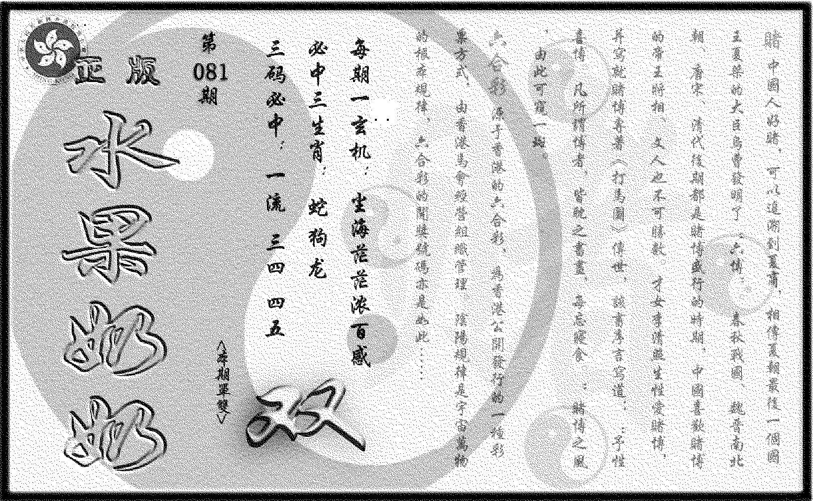 081期(九龙单双攻略)正版(黑白)