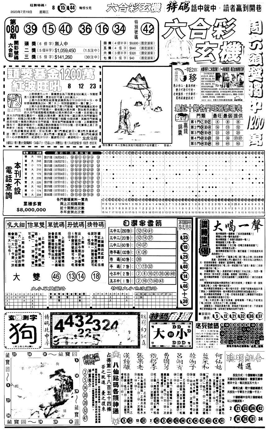 081期另版跑狗A(正面)(黑白)