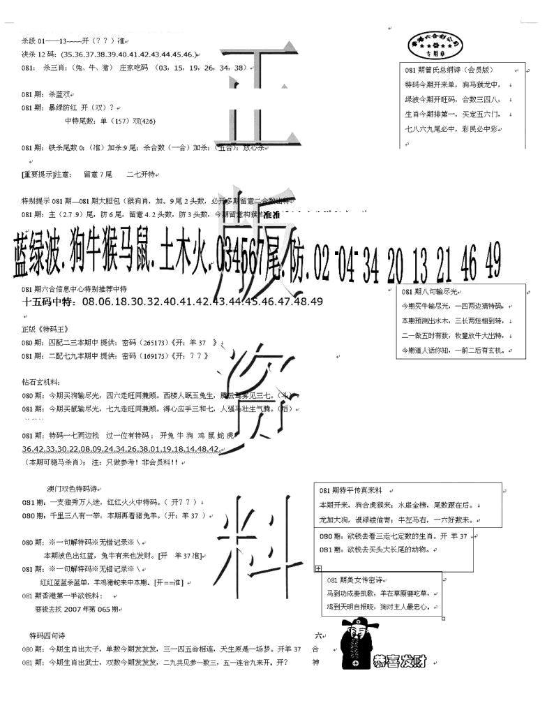 081期正版资料(黑白)