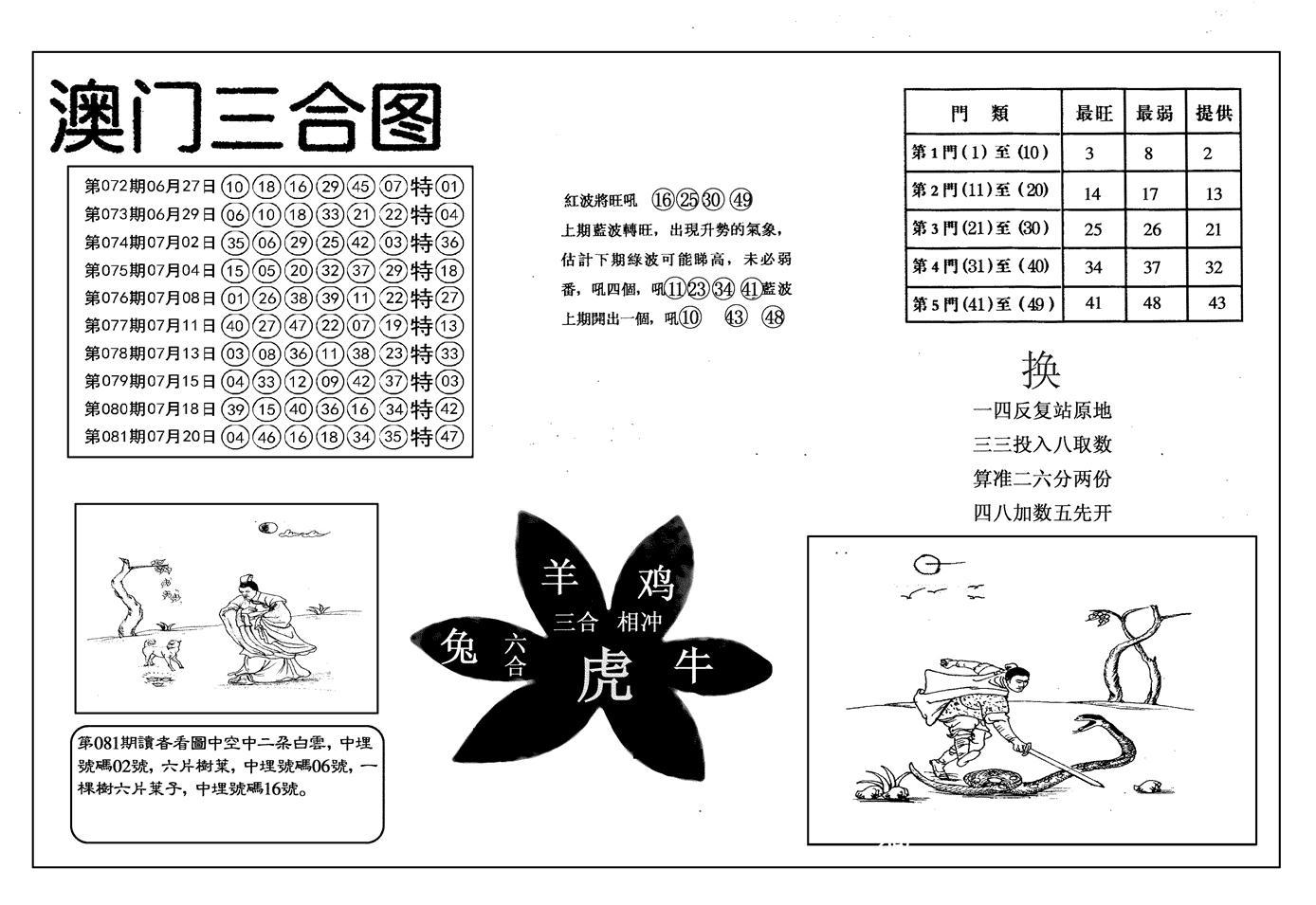 082期另澳门三合图(黑白)