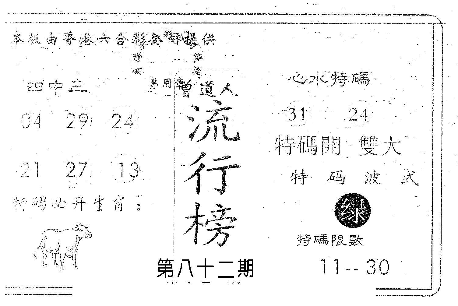 082期流行榜(黑白)