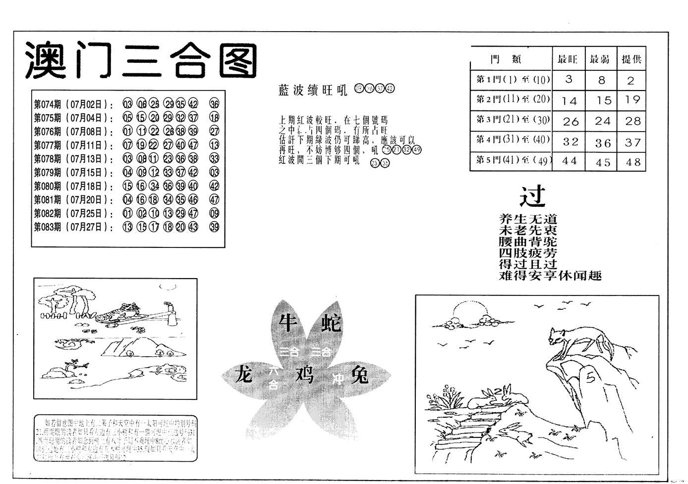 084期老潮汕澳门三合(黑白)