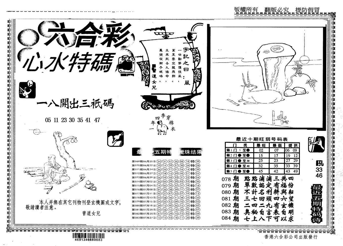 084期另版心水特码(黑白)