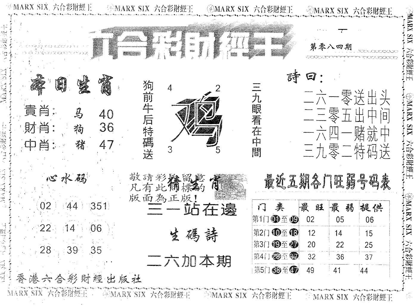 084期六合财经王(黑白)
