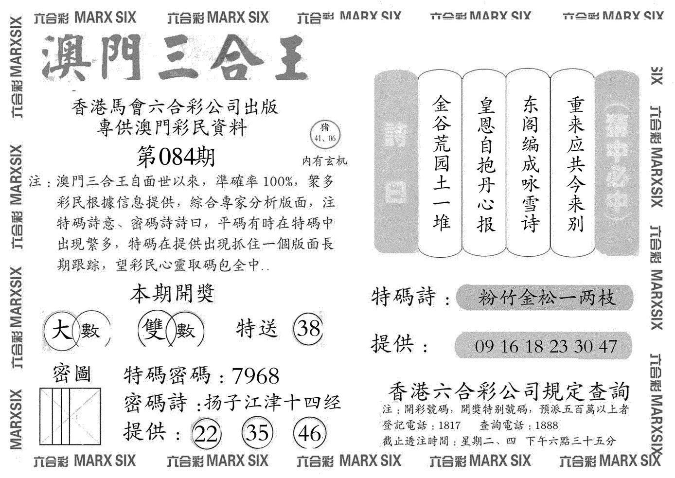 084期澳门三合王A(黑白)