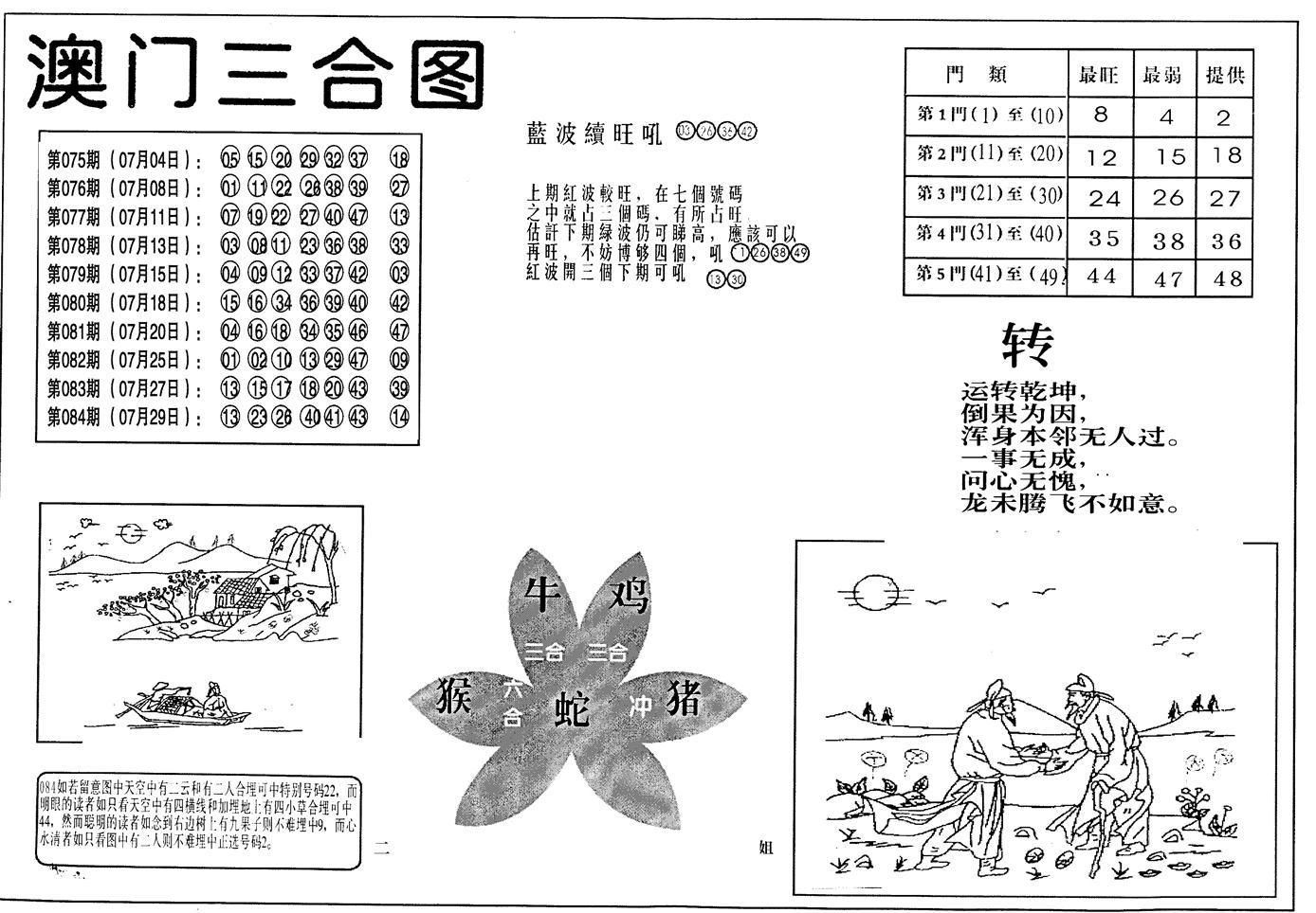 085期老潮汕澳门三合(黑白)