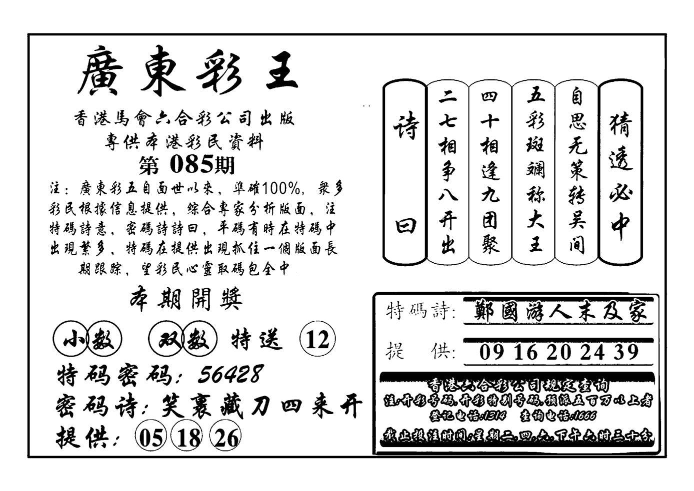 085期广东彩王(黑白)