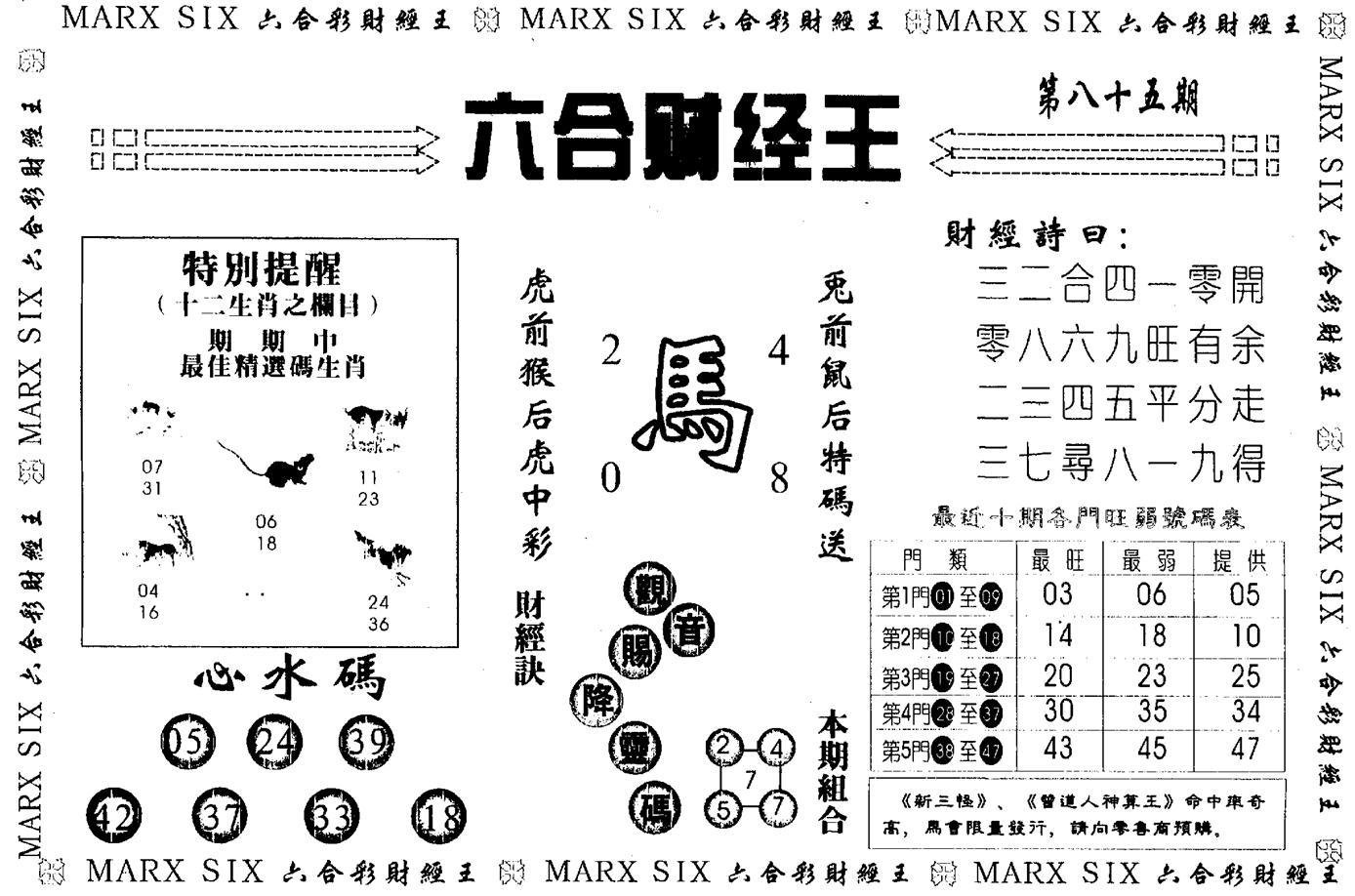 085期另版六合财经王(黑白)